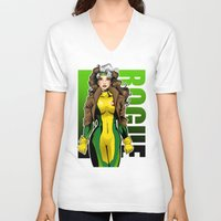 rogue V-neck T-shirts featuring Rogue by Genevieve Kay
