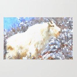 Mountain Goats In the Alpine Wyoming Mountain - Rocky Mountain Goat Rug