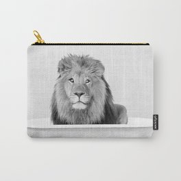 Male Lion in a Vintage Bathtub (bw) Carry-All Pouch