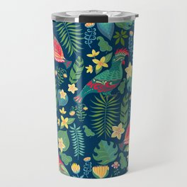 Bright parrots with ornament on the background of tropical flowers and leaves. Travel Mug