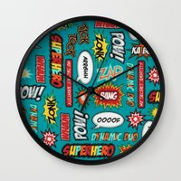 sayings Wall Clocks featuring super heros sayings by  Alexia Miles photography