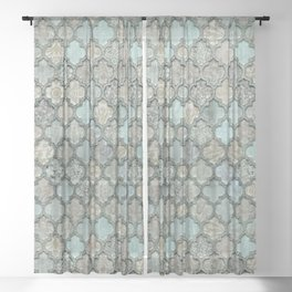 Old Moroccan Tiles Pattern Teal Beige Distressed Style Sheer Curtain