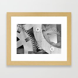 Wooden gears in black and white Framed Art Print