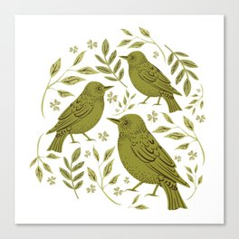 Little Wrens Hiding In The Hedgerow Canvas Print