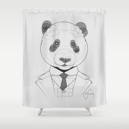 Geometric Panda Shower Curtain