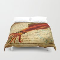 squid Duvet Covers featuring Squid by NeverlandDream
