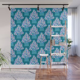 Blue Christmas Tree Wall Mural