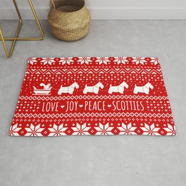 Scottish Terriers Christmas Holiday Pattern Rug