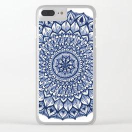 Sand Dollar-Navy Clear iPhone Case