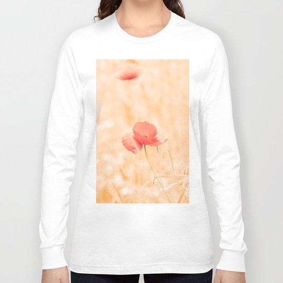 Warm Summer with apricot poppy Long Sleeve T-shirt