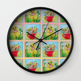 Spring Flowers and Duckling Wall Clock