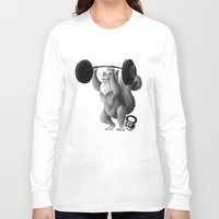 crossfit Long Sleeve T-shirts featuring Crossfit Squirrel by The Elfin Artist