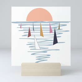 Minimal sunset with sails Mini Art Print