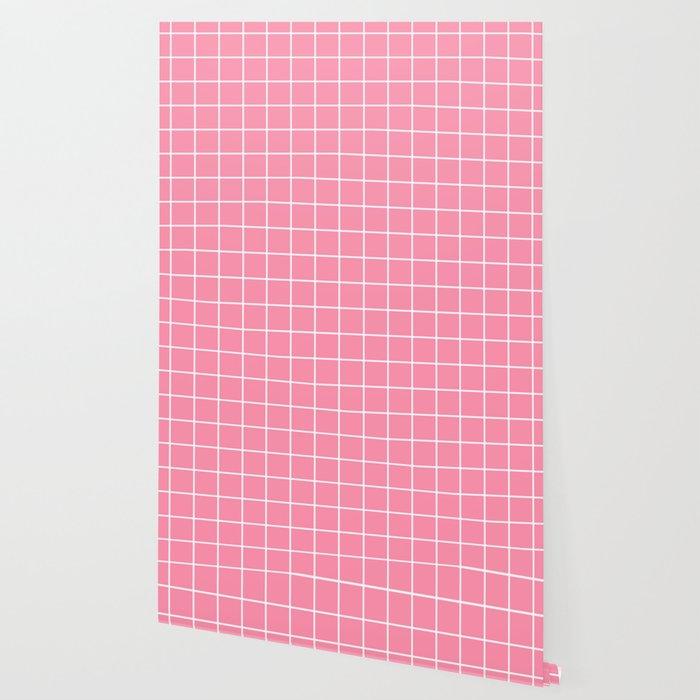 Baker Miller Pink Pink Color White Lines Grid Pattern Wallpaper