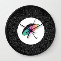 umbrella Wall Clocks featuring umbrella by Luna Portnoi