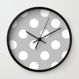 Large Polka Dots - White on Silver Gray Wall Clock
