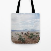 running Tote Bags featuring Running Horses by Kevin Russ