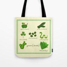Colors: green (Los colores: verde) Tote Bag