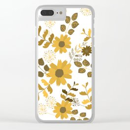 Big Yellow and Brown Flowers Clear iPhone Case