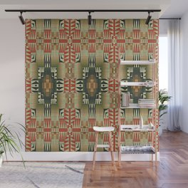 Orange Red Olive Green Native American Indian Mosaic Pattern Wall Mural