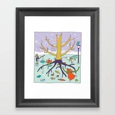 animals winter fun Framed Art Print