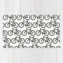 Bicycle Stamp Pattern - Black and White - Fixie Fixed Gear Bike by corriejacobs