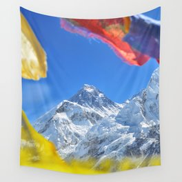 Summit of mount Everest or Chomolungma - highest mountain in the world, view from Kala Patthar,Nepal Wall Tapestry