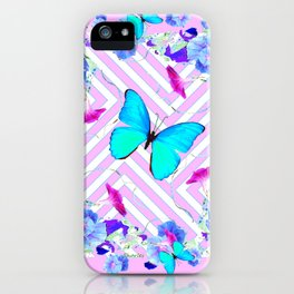 Turquoise Blue Butterflies Morning Glories Abstract Pattern iPhone Case