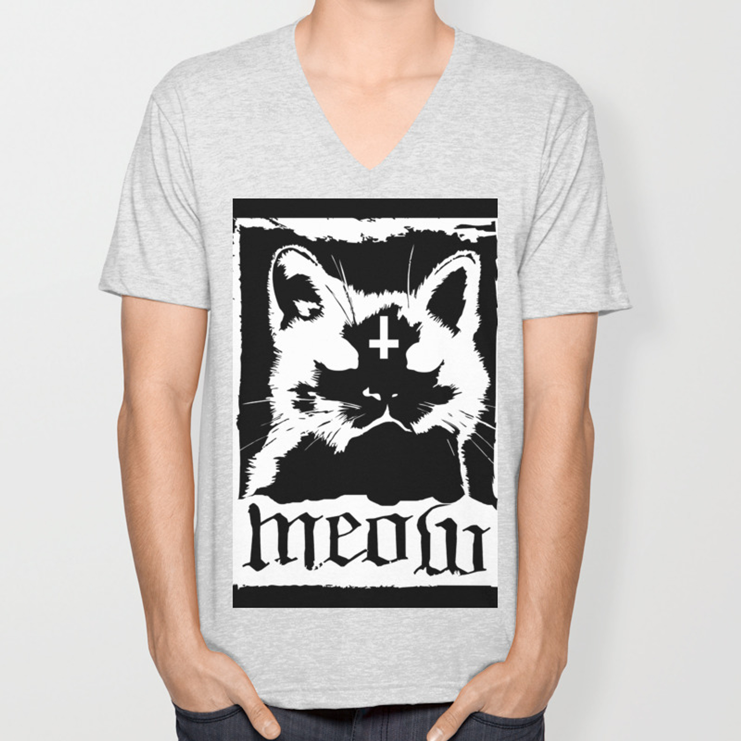 e145354574 Meow Metal Cat Unisex V-Neck by cyclopsjesus | Society6