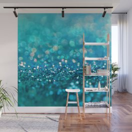 Teal turquoise blue shiny glitter print effect - Sparkle Luxury Backdrop Wall Mural