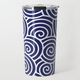 Chinese Spirals | Abstract Waves | Blue and White Travel Mug