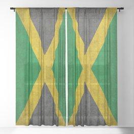 Jamaican flag, Vintage retro style Sheer Curtain