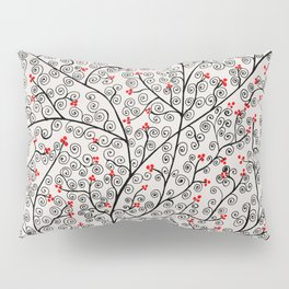Glamorous tree in black and red Pillow Sham