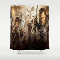 the lord of the rings Shower Curtains featuring lord of the rings,the hobbit by ira gora