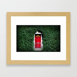 Red Door Winter in Dublin Ireland Christmas Photography Framed Art Print