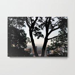 """Between the Trees"" - Montreal Skyline Metal Print"