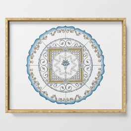 Honeycomb Mandala in Blue and Gold Serving Tray