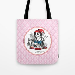 Alice in Wonderland | The Mad Hatter | Tea Party | Pink Damask Pattern | Tote Bag