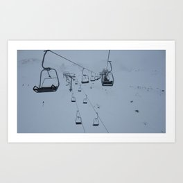 Crossing chairlifts Art Print