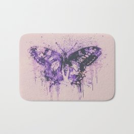 Artsy Butterfly Mixed Media Art  pastel pink and purple Bath Mat