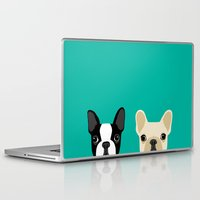 terrier Laptop & iPad Skins featuring Boston Terrier & French Bulldog 2 by Anne Was Here