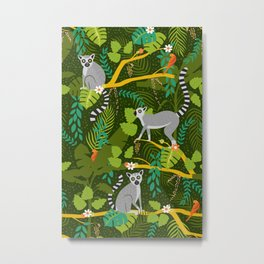 Lemurs in a Green Jungle Metal Print