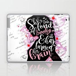 She is Too Fond of Books - White Laptop & iPad Skin