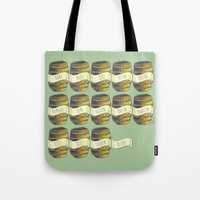 nori Tote Bags featuring 13 barrels - Hobbit by KanaHyde