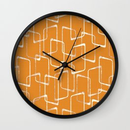 Retro Orange Lino Print Geometric Pattern Wall Clock
