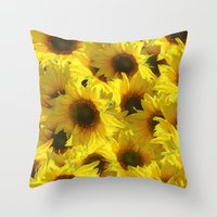 sunflowers Throw Pillows featuring Sunflowers by LLL Creations