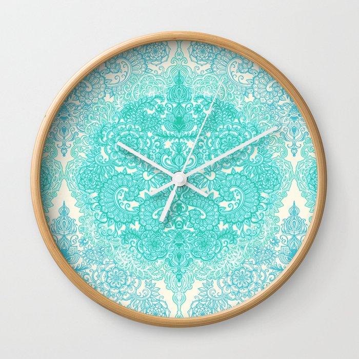 Happy Place Doodle in Mint Green & Aqua Wall Clock