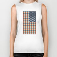 flag Biker Tanks featuring Plaid Flag. by Nick Nelson