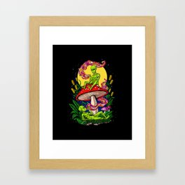 Aliens Magic Mushrooms Smoking Psychedelics Framed Art Print