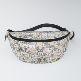 Dogs and Daisies on Pink Fanny Pack